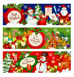 christmas holiday banner with xmas tree and santa vector image