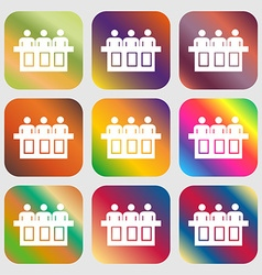 Conference icon Nine buttons with bright vector image