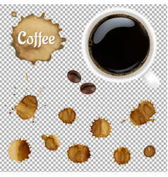 Cup coffee with stains set vector