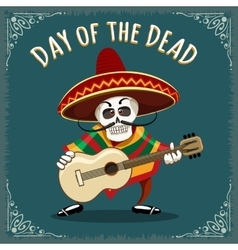 day dead mexican musician vector image
