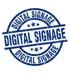 Digital signage blue round grunge stamp vector