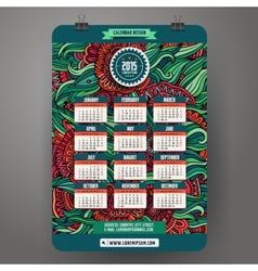 Doodles cartoon floral Calendar 2015 year design vector