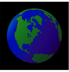 earth globe isolated on black icon vector image