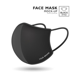 face mask fabric black color mock up side view vector image