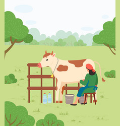 Farmer woman milking cow countryside vector