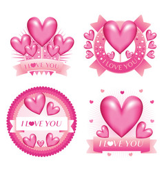 february valentine love badges vector image