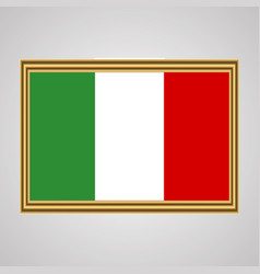 Flag of italy in a golden frame vector
