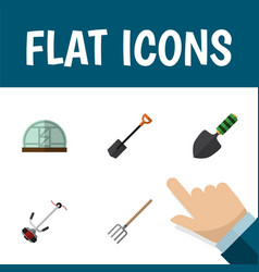 Flat icon dacha set of trowel hothouse grass vector