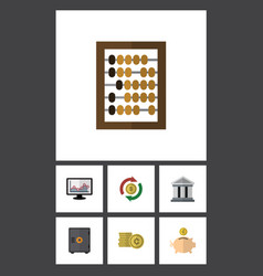 Flat icon finance set of chart bank cash and vector
