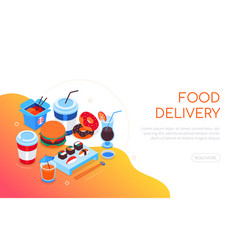 food delivery - modern colorful isometric web vector image