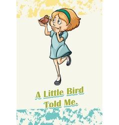 Girl holding a speaking bird vector