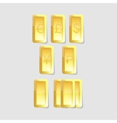 Gold bars with symbols of world currency vector