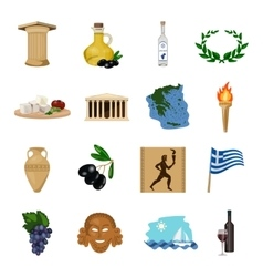 Greece set icons in cartoon style Big collection vector