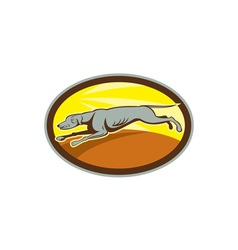 Greyhound Dog Jumping Side Oval Cartoon vector
