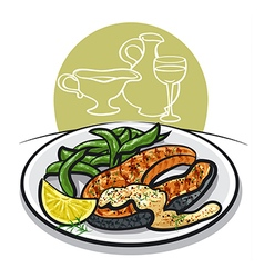grilled salmon steak vector image
