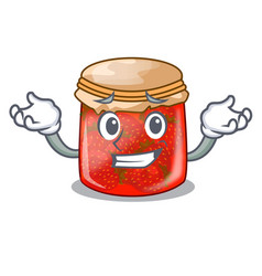 Grinning strawberry marmalade in glass jar of vector