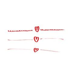hand drawn hearts set frame vector image