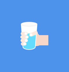 Hand holding a glass with water flat design vector