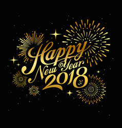 happy new year with firework gold vector image