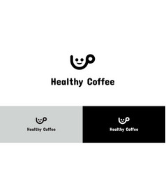 healthy coffee with character logo vector image