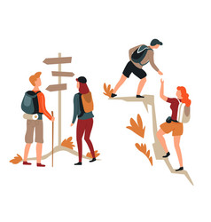 hiking couple direction pointer and mountain vector image
