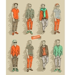 Hipster man in fashion set vector image