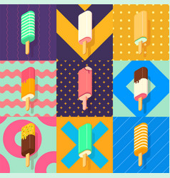 ice lolly colorful set vector image