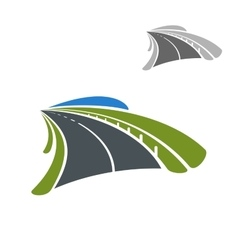 Icon of road among green fields vector