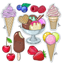 icons colored dessert ice cream ice cream in a vector image