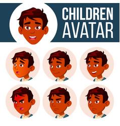 indian boy avatar set kid high school vector image