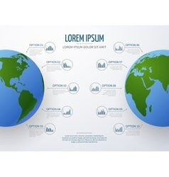 infographic mockup with globe and diagrams vector image