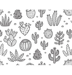 Ink seamless pattern with cactuses vector