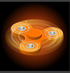 isometric 3d a orange fidget spinner or vector image