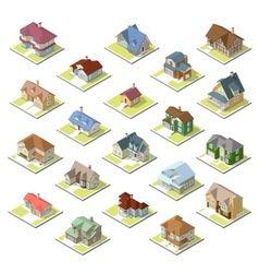 Isometric image of a private house set vector