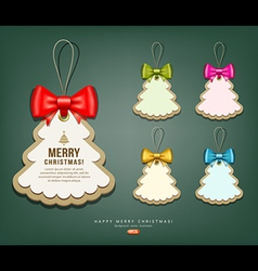 Label paper and colorful ribbons Merry Christmas vector image