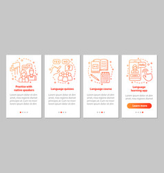 Language learning onboarding mobile app page vector