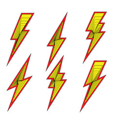 lightning bolt flash icons set vector image
