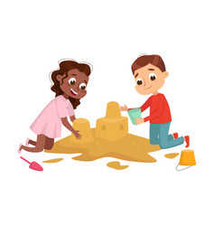 little girl and boy playing in sandbox kid having vector image
