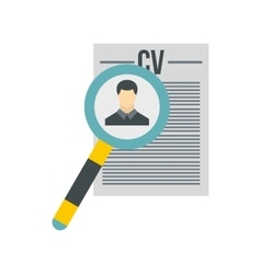 Magnifying glass over CV icon flat style vector