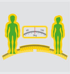 Man or woman loss weight icon human silhouette of vector
