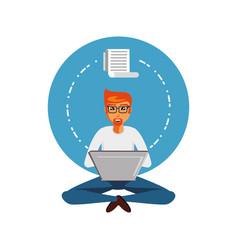man sitting with laptop computer and paper receipt vector image
