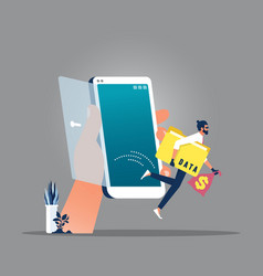 Mobile hacker and cyber security concept vector