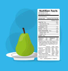 Nutrition facts of pear fruit label content vector