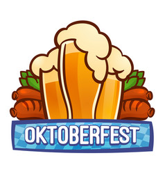 Oktoberfest bavarian logo cartoon style vector
