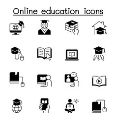 Online education icons set graphic design vector