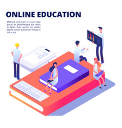 online education isometric concept with vector image