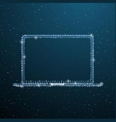 open laptop polygonal concept wireframe portable vector image