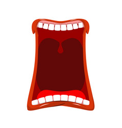 Open mouth isolated teeth and tongue hunger yawns vector