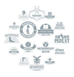 orthopedics logo icons set simple style vector image
