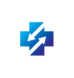 plus arrow business logo vector image